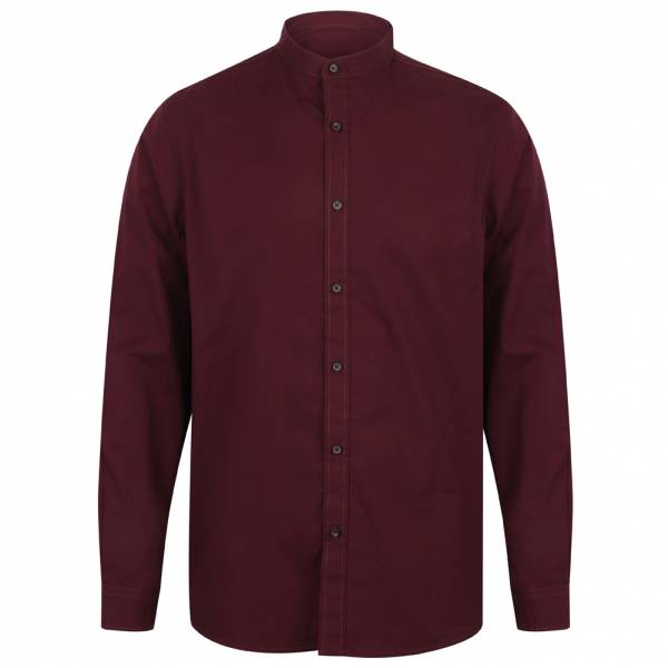 Chemise Tokyo Laundry Kampala Grandad Collar pour Hommes 1H9635 Vin
