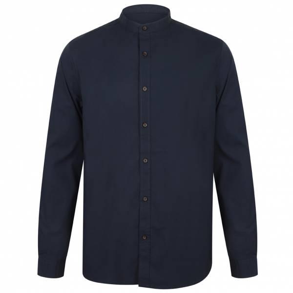 Chemise Tokyo Laundry Kampala Grandad Collar pour Hommes 1H9635 Bleu nuit
