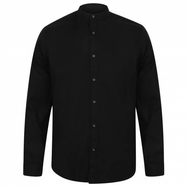 Chemise Tokyo Laundry Kampala Grandad Collar pour Hommes 1H9635 Noir